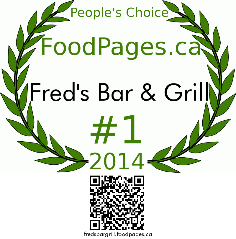 Fred's Bar & Grill FoodPages.ca 2014 Award Winner